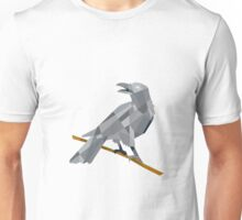 Crow Perching Looking Back Low Polygon Unisex T-Shirt