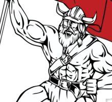 Viking Warrior Barbell Waving Flag Retro Sticker