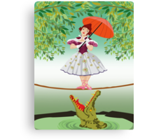 Cute halloween The crocodile girl Deadly circus Canvas Print