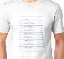 Louis Mazzini's Checklist Unisex T-Shirt