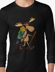 Cool Funny Moose Hiking withBackpack Long Sleeve T-Shirt