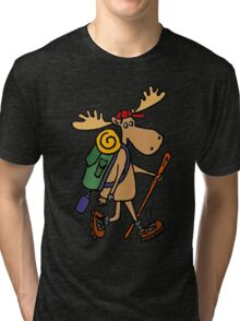 Cool Funny Moose Hiking withBackpack Tri-blend T-Shirt