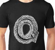 Black and White Letter Q Unisex T-Shirt