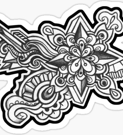 Abstract Dimensions (Black and White) Design 001 Sticker