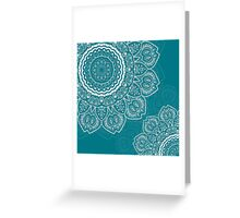 Tulips Mandala in Biscay Bay Color Greeting Card