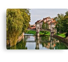 River Reflections in Ljubljana Canvas Print