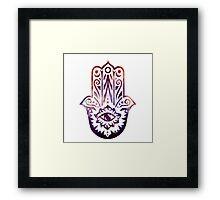 Purple Orange Fatima Hand Hamsa Framed Print