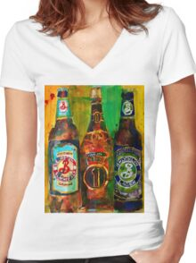 Brooklyn Beer Lager, Summer - Men Cave Women's Fitted V-Neck T-Shirt