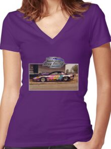 Australian Drag Racing History Pontiac Pro Stock Retro Women's Fitted V-Neck T-Shirt