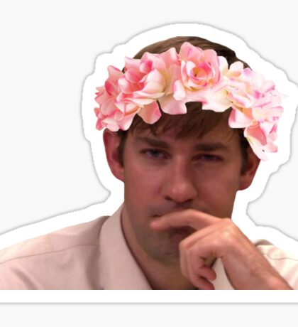 Jim Adorned with the Hottest of Flower Crowns Sticker