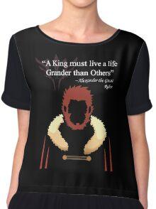 Iskandar Quotes Black Print Chiffon Top