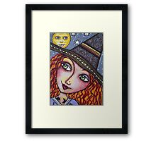 FULL MOON WISHES - Halloween, Witch Framed Print