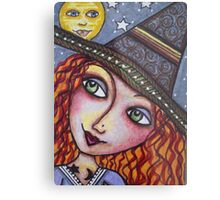 FULL MOON WISHES - Halloween, Witch Metal Print