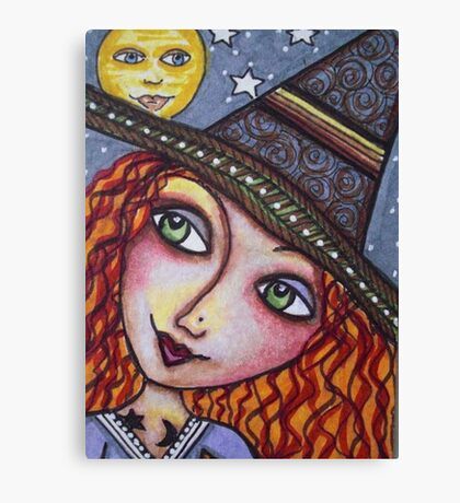 FULL MOON WISHES - Halloween, Witch Canvas Print