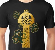 Gold Celtic Cross N Shamrocks Unisex T-Shirt