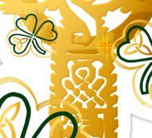 Gold Celtic Cross N Shamrocks Sticker