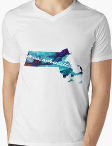 Massachusetts Mens V-Neck T-Shirt