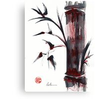 Crimson in the Mist - India ink bamboo wash painting Canvas Print