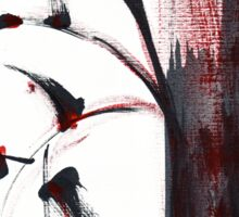 Crimson in the Mist - India ink bamboo wash painting Sticker