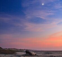 Florence Beach Twilight Moon by James Eddy