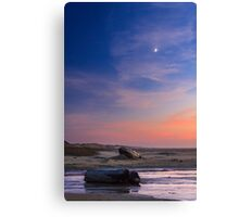 Florence Beach Twilight Moon Canvas Print