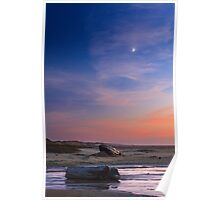 Florence Beach Twilight Moon Poster