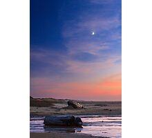 Florence Beach Twilight Moon Photographic Print
