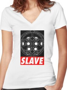 A Slave Obeys Women's Fitted V-Neck T-Shirt