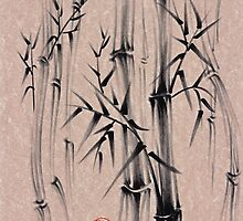 Forest of Dreams - Sumie ink brush bamboo forest painting by Rebecca Rees