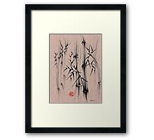 Forest of Dreams - Sumie ink brush bamboo forest painting Framed Print