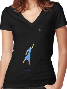 Butterfly Girl Without String Women's Fitted V-Neck T-Shirt
