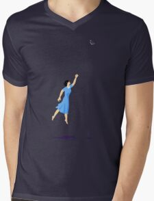 Butterfly Girl Without String Mens V-Neck T-Shirt
