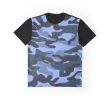 Blue Military Camouflage Pattern 5 Graphic T-Shirt