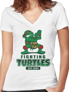 Fighting Turtles Women's Fitted V-Neck T-Shirt