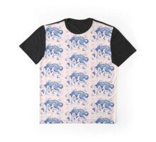 Celestial Fox Peach & Navy Graphic T-Shirt