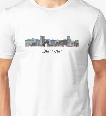 Hand Drawn Denver Skyline Unisex T-Shirt