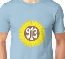 Hand Drawn Kansas Sunflower 913 Area Code Unisex T-Shirt