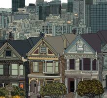 Hand Drawn San Francisco Painted Ladies Sticker