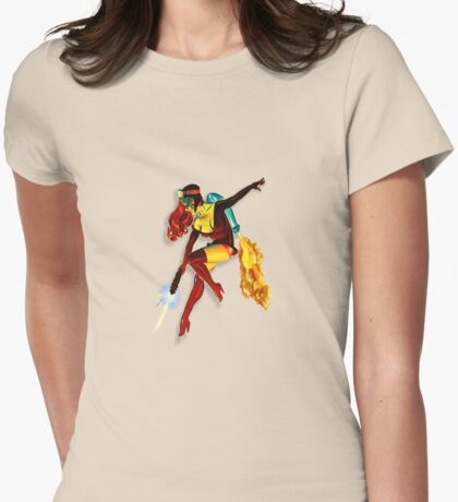 vintage jet pack girl Womens Fitted T-Shirt