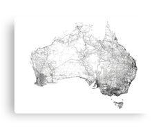 Australia mapped by dirt tracks, roads and highways Canvas Print