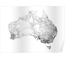Australia mapped by dirt tracks, roads and highways Poster