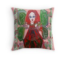 Green Fairy with Floral Border Throw Pillow