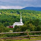 Church steeple nestled in the woods of Vermont USA by jeanlphotos