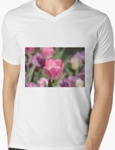 Pretty Pink Tulip Mens V-Neck T-Shirt