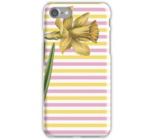 Yellow Daffodil Pink and Yellow Stripes iPhone Case/Skin