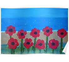 Poppies by the Sea Poster