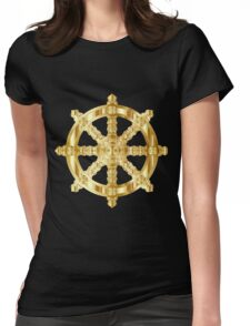 Gold Dharma Wheel Womens Fitted T-Shirt