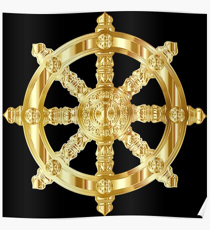 Gold Dharma Wheel Poster