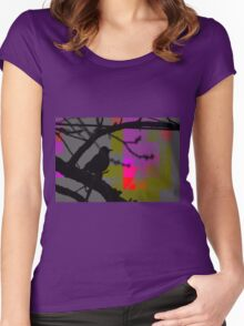 Beautiful Black Bird on a Branch Women's Fitted Scoop T-Shirt