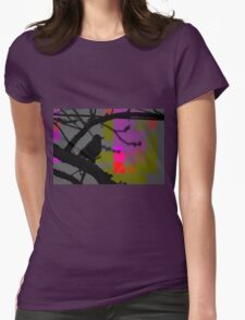 Beautiful Black Bird on a Branch Womens Fitted T-Shirt